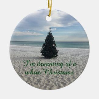 Dreaming of White Christmas Holiday on Beach Christmas Ornament