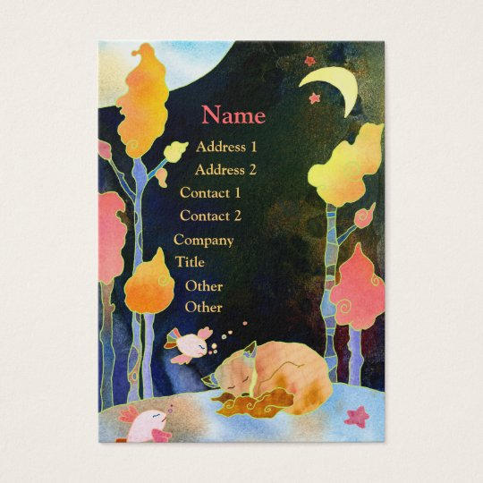 Dreaming Woodland Fox Illustration Business Cards