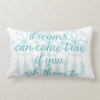 Dreams Can Come True Teal Slogan Dreamcatcher Lumbar Cushion