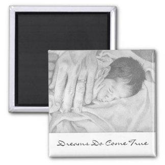 Dreams Do Come True Sweet Dreams Black & White Square Magnet