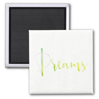 Dreams Green Leaf Black Week Planner Home White Square Magnet