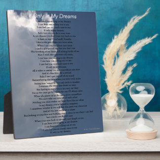 Dreams Love Poem Fluffy White Clouds EASEL Plaque