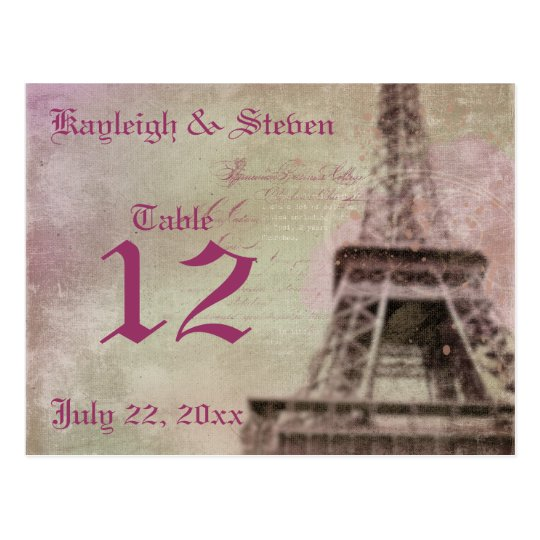 Dreams of Paris Table Number Postcard