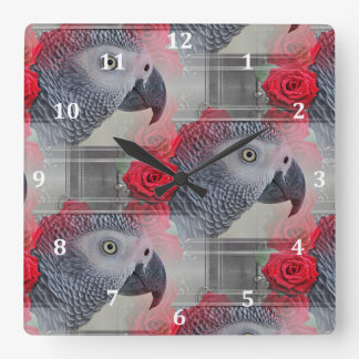 Dreamy African Grey with Red Roses Square Wallclocks