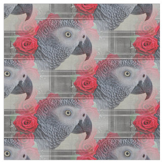 Dreamy African Grey with Red Roses Fabric