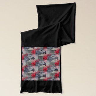 Dreamy African Grey with Red Roses Scarf