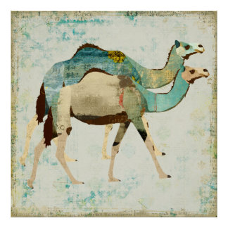 Dreamy Blue Camels Art Poster