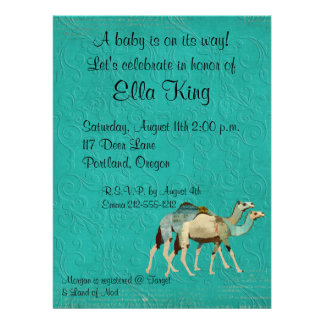 Dreamy Blue Camels Baby Invitation