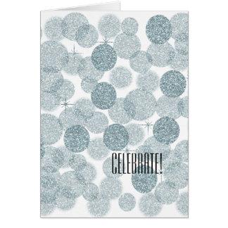 Dreamy Blue Glitter Bokeh Greeting Card