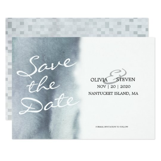 Dreamy Blue Grey Watercolor Wedding Save The Date Card