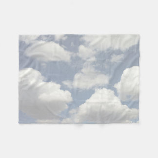 Dreamy Blue Sky with Puffy White Clouds Fleece Blanket