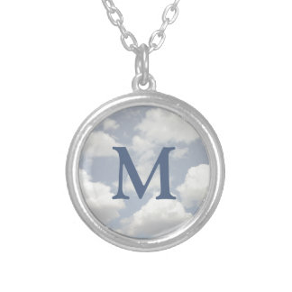 Dreamy Blue Sky with Puffy White Clouds Monogram Silver Plated Necklace