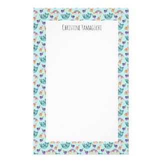 Dreamy Cat Floating in the Sky Watercolor Pattern Customised Stationery