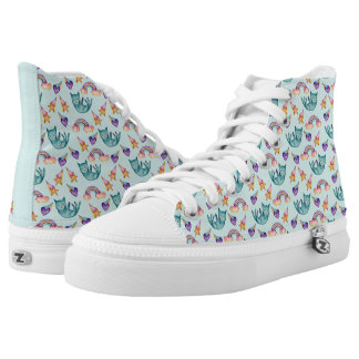Dreamy Cat Floating in the Sky Watercolor Pattern Printed Shoes