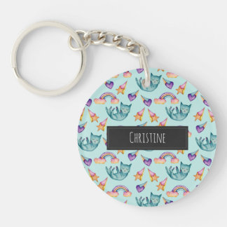 Dreamy Cat Floating in the Sky Watercolor Pattern Single-Sided Round Acrylic Key Ring
