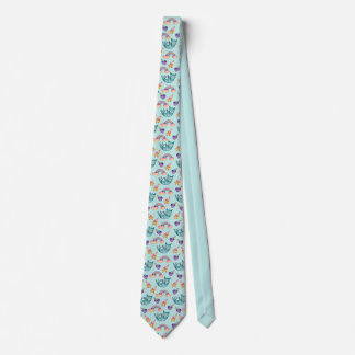 Dreamy Cat Floating in the Sky Watercolor Pattern Tie