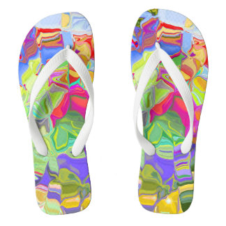 Dreamy Colorful Abstract Flip Flops