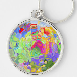 Dreamy Colorful Abstract Silver-Colored Round Key Ring