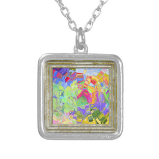 Dreamy Colorful Abstract Silver Plated Necklace