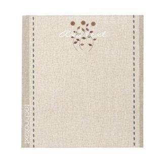 Dreamy Cute Daisies  Linen Look Add Text Gardener Notepad
