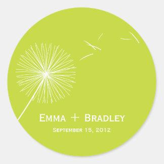 Dreamy Dandelion Favor Sticker - Meadow Green