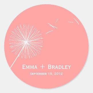 Dreamy Dandelion Favor Sticker - Rose Pink