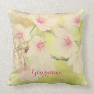 Dreamy Faded Vintage Pale Pink Sakura Cherry Bloss Throw Pillow