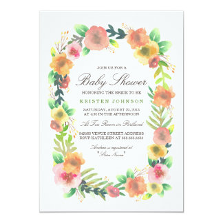Dreamy Floral Baby Shower 13 Cm X 18 Cm Invitation Card