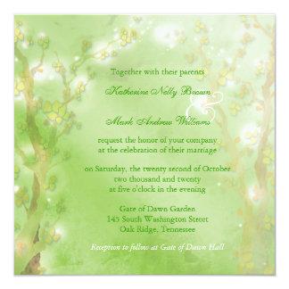 Dreamy Forest Meadow Green Wedding 13 Cm X 13 Cm Square Invitation Card