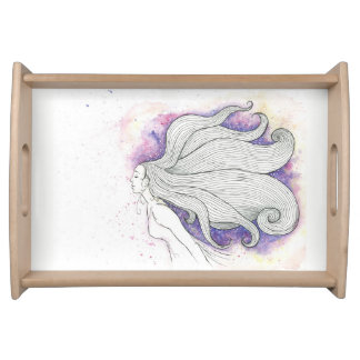 Dreamy girl illustration serving tray