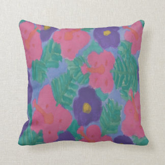 Dreamy Hibiscus Nights Throw Pillow