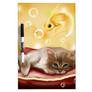 Dreamy kitten dry erase white board
