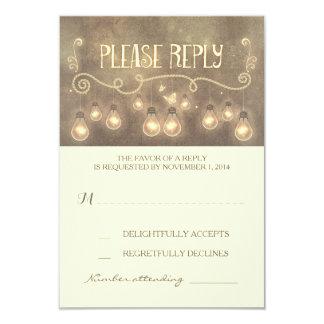 dreamy light bulbs whimsical wedding RSVP card
