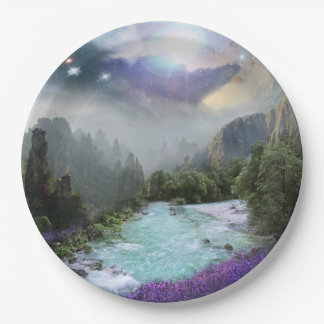 Dreamy Magical Scenic Nature Landscape Paper Plate