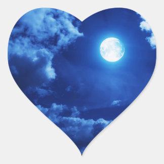 Dreamy, moonlit heart sticker