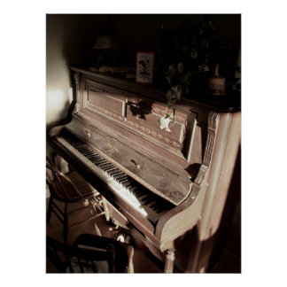 Dreamy Old Fashioned Antique Piano Poster