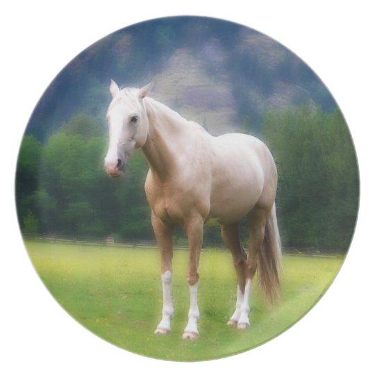 Dreamy Palomino Horse Painting Plate