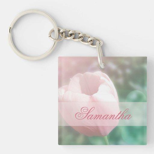 Dreamy pink tulip bokeh photo Keychain custom