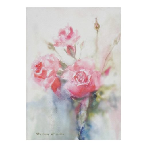 dreamy pink watercolor roses poster