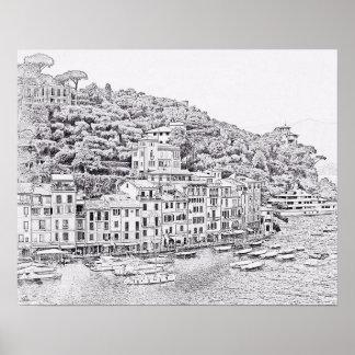 Dreamy Romantic Portofino, Italy Poster