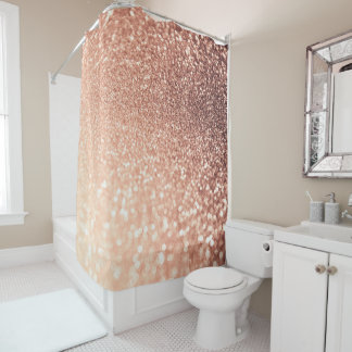 Dreamy Rose Gold Glitter - Peach Glittereffect Shower Curtain
