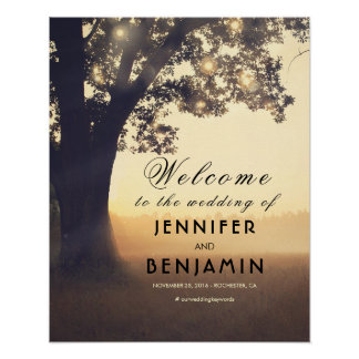 Dreamy Rustic Tree Lights Wedding Welcome Sign