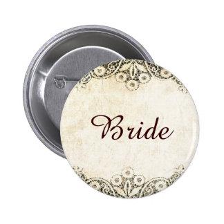 Dreamy rustic vintage lace 6 cm round badge