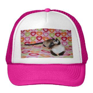 Dreamy Siamese Cat Hearts Cap