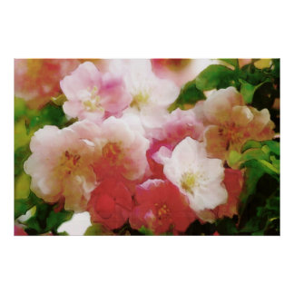 Dreamy Spring Blossoms Water Color Poster