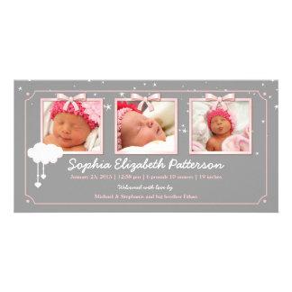Dreamy Stars Three Photo Baby Birth Announcement Custom Photo Card