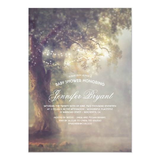 Dreamy Tree String Lights Rustic Baby Shower Card