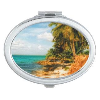 Dreamy Tropical Beach Compact Mirrors