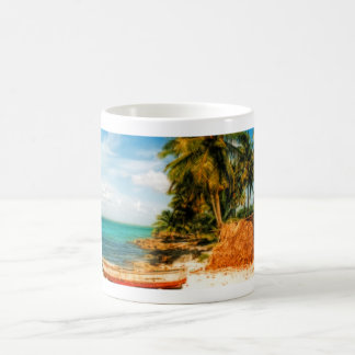 Dreamy Tropical Beach with Rowboat Mugs