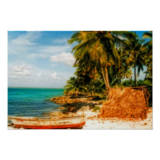 Dreamy Tropical Beach with Rowboat Poster